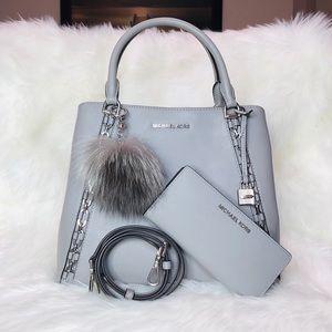3PCS Michael Kor Sadie LG Grab Bag Wallet Charms